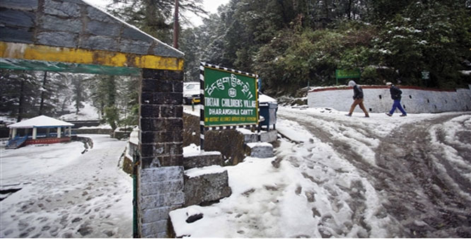 A snow-clad street in Dharamshala